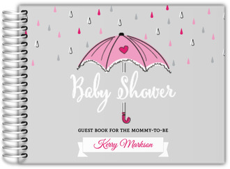 Pink Umbrella Baby Shower Guest Book