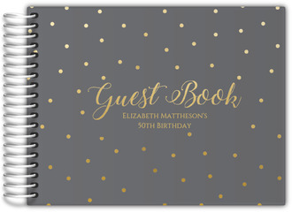 Gray and Gold Dots Birthday Guest Book