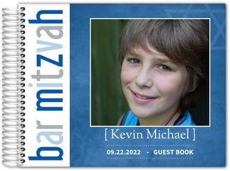 Rustic Blue Star Bar Mitzvah Guest Book