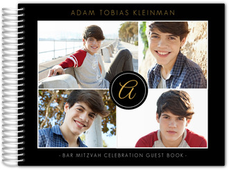 Black Multi Photo Bar Mitzvah Guest Book