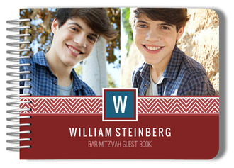 Chevron Band Monogram Bar Mitzvah Guest Book