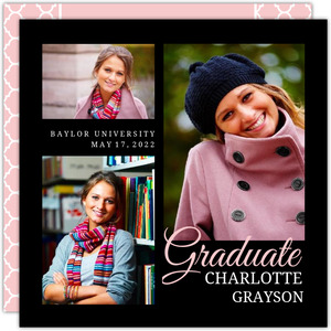 Pink and Black Sophisticated Graduation Invitation