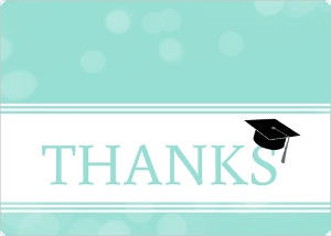 Turquoise Bubbles Graduation Cap Thank You Card