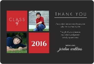 Gray and Red Squares Graduation Thank You Card