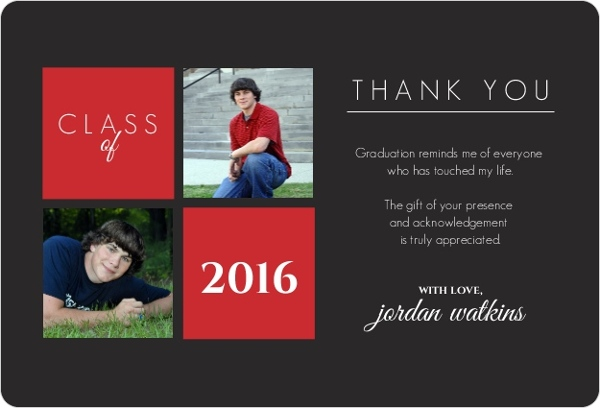 Graduation Thank You Cards: Gray And Red Squares Graduation Thank You Card