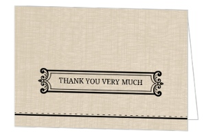 Tan Linen and Black Embellished Thank You Card