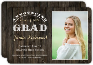 Rustic Woodgrain Portrait Graduation Announcement