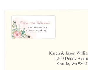 Blush Floral Arrangement Address Label
