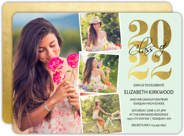 Faux Gold Foil Year Graduation Invitation