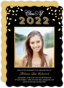 Gold Framed Confetti Graduation Invitation