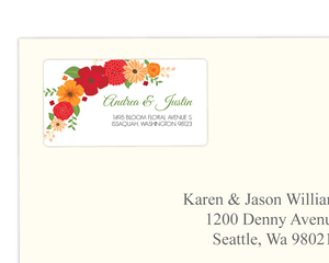 Modern Colorful Flowers Address Label
