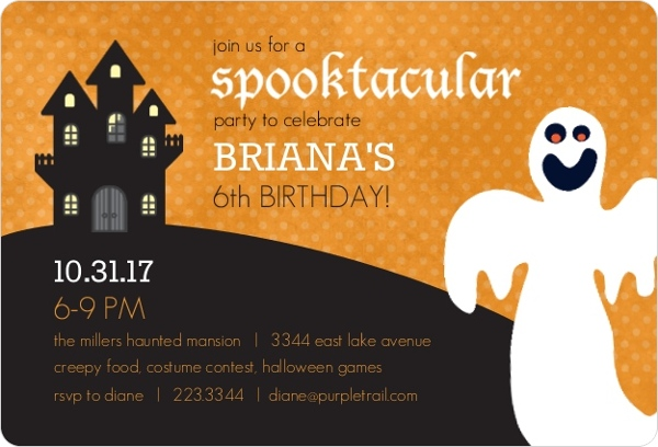 Scary Ghost Kids Halloween Birthday Party Invite