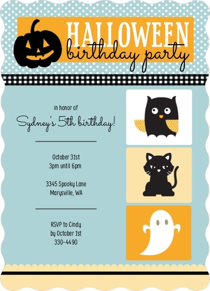 Cute Halloween Animals Birthday Party Invitation