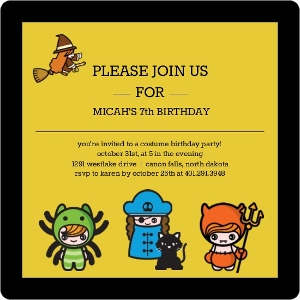 Little Ghouls Costume Birthday Party Invitation Magnet