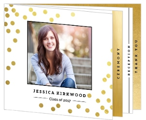 Faux Gold Foil Confetti Graduation Booklet Invitation