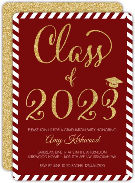 Glitter Black & White Stripes Graduation Invitation