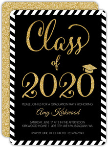 Glitter Black & White Stripes Graduation Invitation