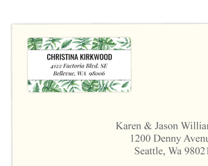 Tropical Watercolor Leaves Address Label