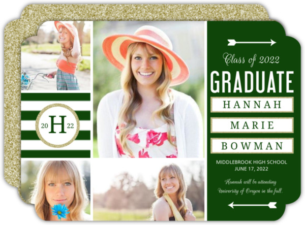 Sophisticated Glitter Graduation Announcement