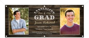 Rustic Woodgrain Portrait Printable Graduation Banner