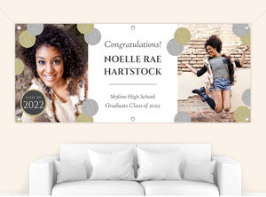 Fancy Faux Glitter Monogram Graduation Banner