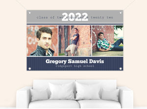 Blue and Gray Photo Bar Graduation Banner