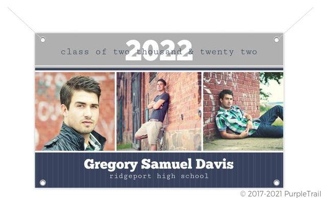 Blue and Gray Photo Bar Graduation Banner