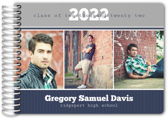 Blue and Gray Photo Bar Graduation Guest Book