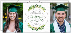 Diamond Frame Greenery Graduation Invitation