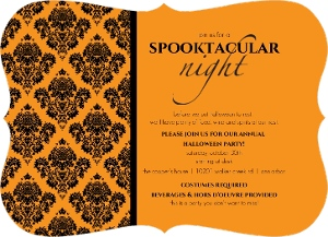Couture Orange And Black Damask Halloween Party Invitaiton Magnet