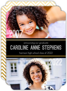Faux Foil Now and Then Graduation Announcement