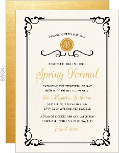 Flourished Frame Black and Gold Prom Invitation