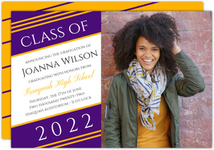Simple Diagonal Stripes Printable Graduation Announcement
