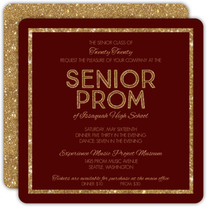 Burgundy & Gold Glitter Prom Invitation