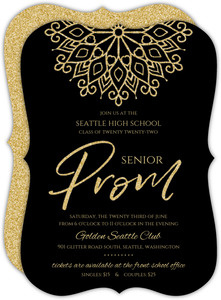 Elegant Faux Gold Glitter Senior Prom Invitation