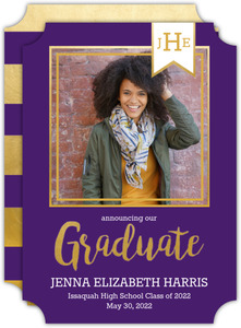 Monogram Banner Graduation Announcement