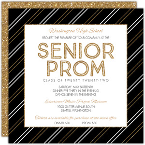 Faux Gold Glitter Stripes Prom Invitation