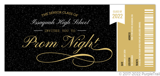 Prom Ticket Stub Prom Invitation  Prom Ticket Template