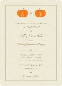 Pumpkin Monograms Halloween Wedding Magnet Invitation