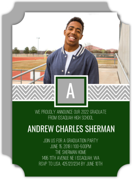Chevron Band Monogram Graduation Party Invitation