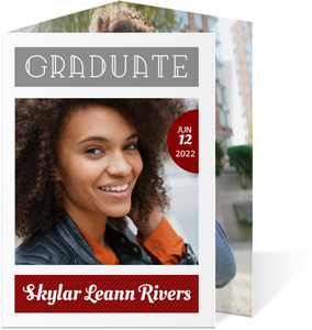Modern Red Blocks Graduation Photo Announcement