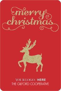 Red Gold Glitter Reindeer Business Holiday Card