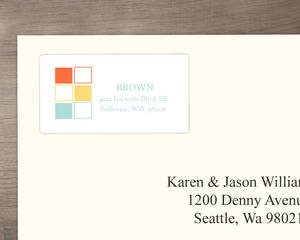 Happy Blue And Yellow Blocks Address Label