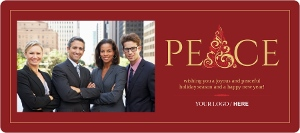Red Gold Peace Business Holiday Card