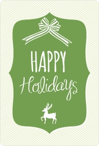 Green Reindeer Bow Business Holiday Card
