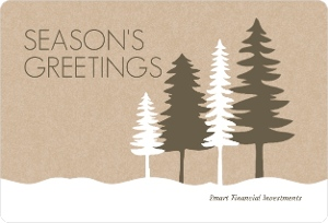 Brown White Winter Forest Business Holiday Card