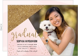 Modern Pink & Faux Gold Glitter Graduation Announcement