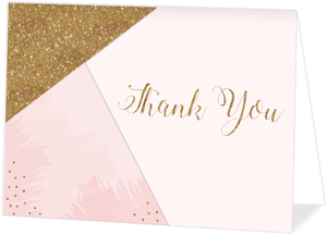 Modern Pink & Faux Gold Glitter Graduation Thank You Card