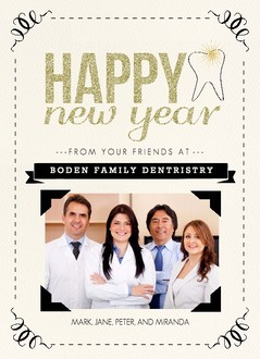 Gold Glitter Dental Business Holiday Card