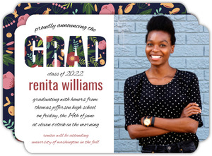 Whimsical Floral Garden Pattern Graduation Announcement